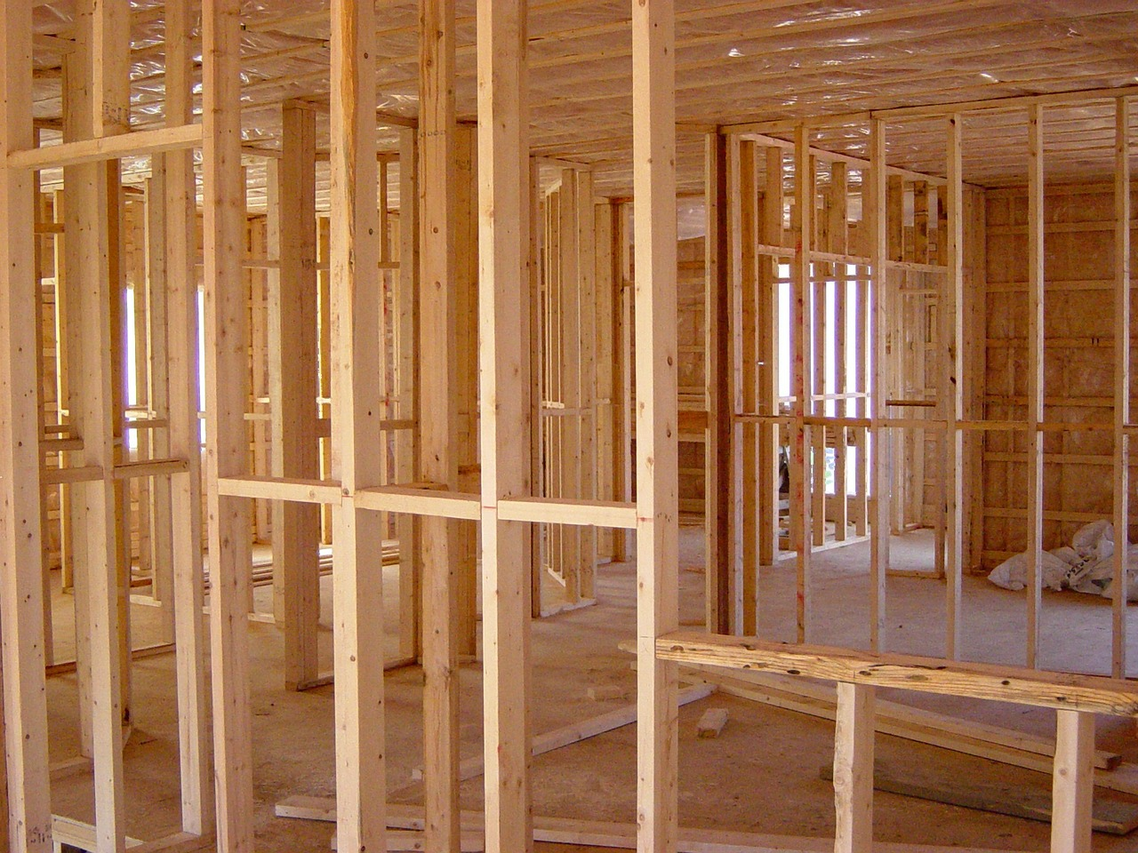wood frames in a new construction house