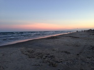 sunset on the beach at port aransas