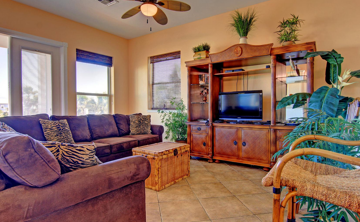 a living room with tv, couches, and ceiling fan