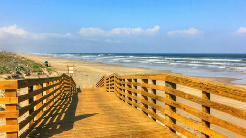 wooden walkway to the beach in Port Aransas